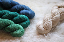 Load image into Gallery viewer, Dyed to Order • Dreyma Sweater Kit • Au Lait, Delphinium, Teal, & Seafoam