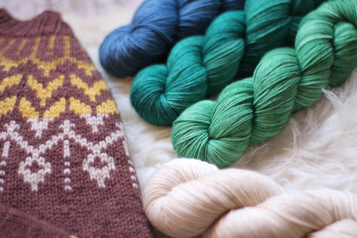 Dyed to Order • Dreyma Sweater Kit • Au Lait, Delphinium, Teal, & Seafoam