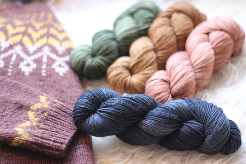 Dyed to Order • Dreyma Sweater Kit • Indigo, Moss, Oak, & Blush