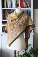 Load image into Gallery viewer, Dyed to Order • Flatiron Shawl Kit • White Way of Delight, Kindred Spirit, Avonlea & Moss