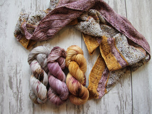 Dyed to Order • A Girl's Best Friend Shawl Kit • Grey Lady, Learning to Love, Gingersnap