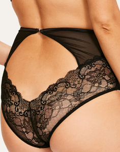 PEEK-A-BOO LACE HIGH WASIT BACKLESS BRIEFS