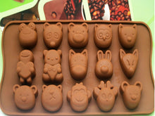 Load image into Gallery viewer, Silicone Chocolate Ice Tray 15 Different Mold Mouse Tiger Bunny Animal Pattern Mold