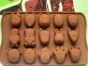 Silicone Chocolate Ice Tray 15 Different Mold Mouse Tiger Bunny Animal Pattern Mold