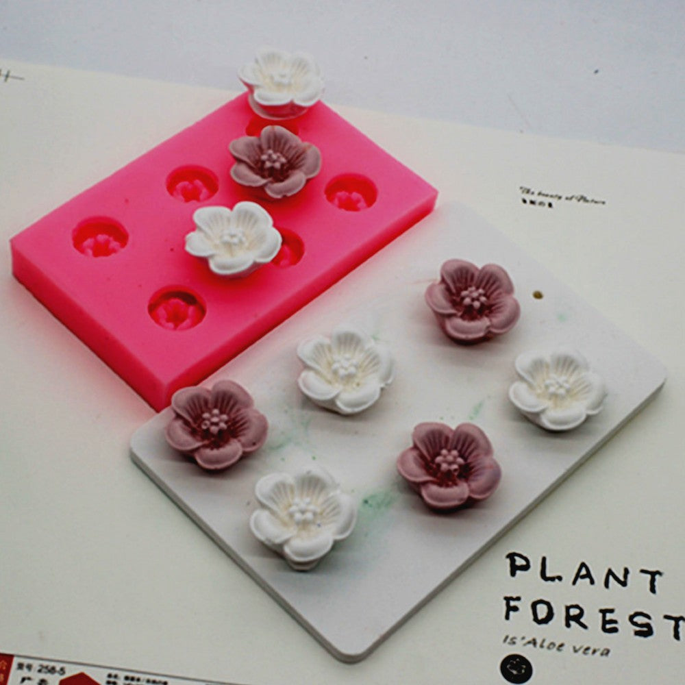 6 Holes Mini Flower Aroma Gypsum Decorative Wax Silicone Mold DIY Expanded Incense Stone