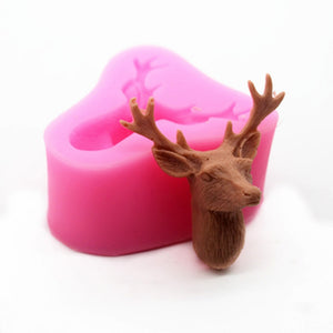 Deer Head DIY Baking Tools Fondant Silicone Mold Cake Gypsum Aromatherapy Soap Mold