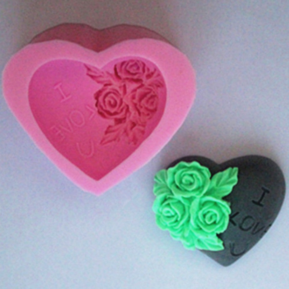 Rose Love Soap Mold / Handmade Soap Mold / Silicone Mold / Soap Mold Candle Mold-1