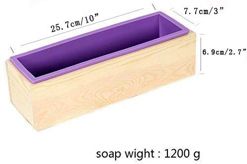 Silicone Loaf Soap Mold Rectangle Mould with Wooden Box DIY Art Handmade Tools