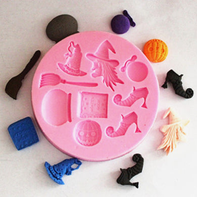 Halloween Hat Witch Silicone Fondant Chocolate Lace Cake Decoration Mold-2