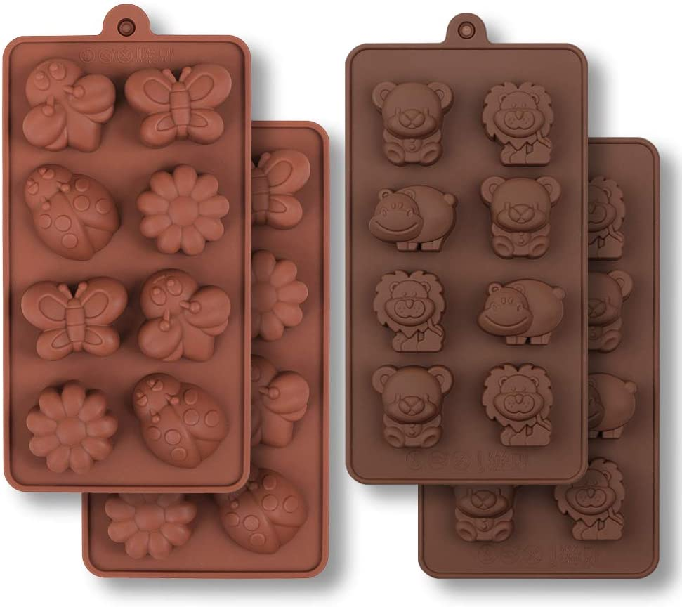 Silicone Chocolate Mold, Forest Bug and Animal Mold with Hippo Bear, Lion, Butterfly, Bee, Ladybird for Candies, soap mold