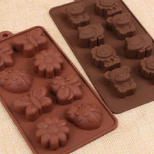 Load image into Gallery viewer, Silicone Chocolate Mold, Forest Bug and Animal Mold with Hippo Bear, Lion, Butterfly, Bee, Ladybird for Candies, soap mold