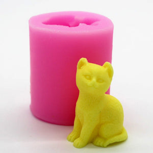 Silicone Mold Cat Candle Mold Fondant Cake Chocolate Handmade Soap Mold Baking Tool
