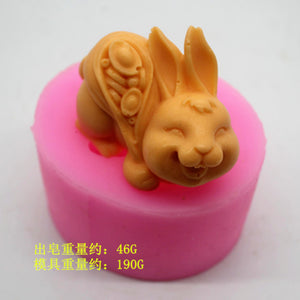 Rabbit Silicone Soap Mould Handmade Soap Chocolate Aromatherapy Decoration Mould