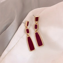 Load image into Gallery viewer, Temperament Elegant/Vintage red hoop earrings-Rectangle