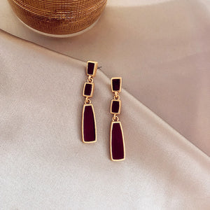 Temperament Elegant/Vintage red hoop earrings-Rectangle