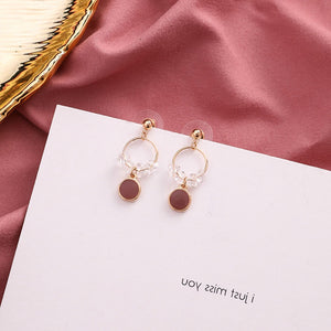 Temperament Elegant / Gold Hoop with white Diamonds earrings