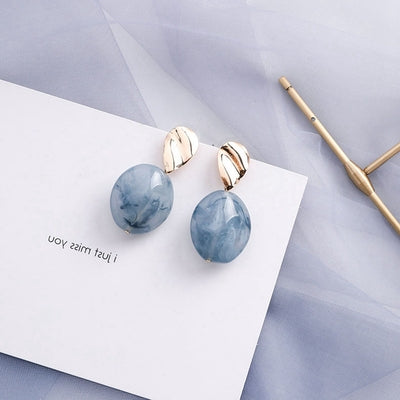 Temperament Elegant / Geometric light blue and gold earrings