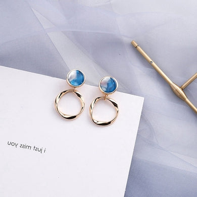 Temperament Elegant / Wild shape light blue and gold earrings