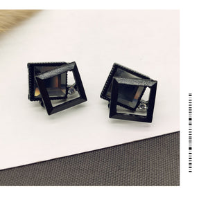Temperament Elegant / Black square and Diamond - small earrings