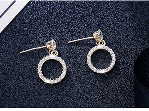 Temperament Elegant / Geometric diamond earrings