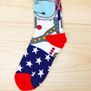 Styled cotton socks-Blue White Red Astronaut