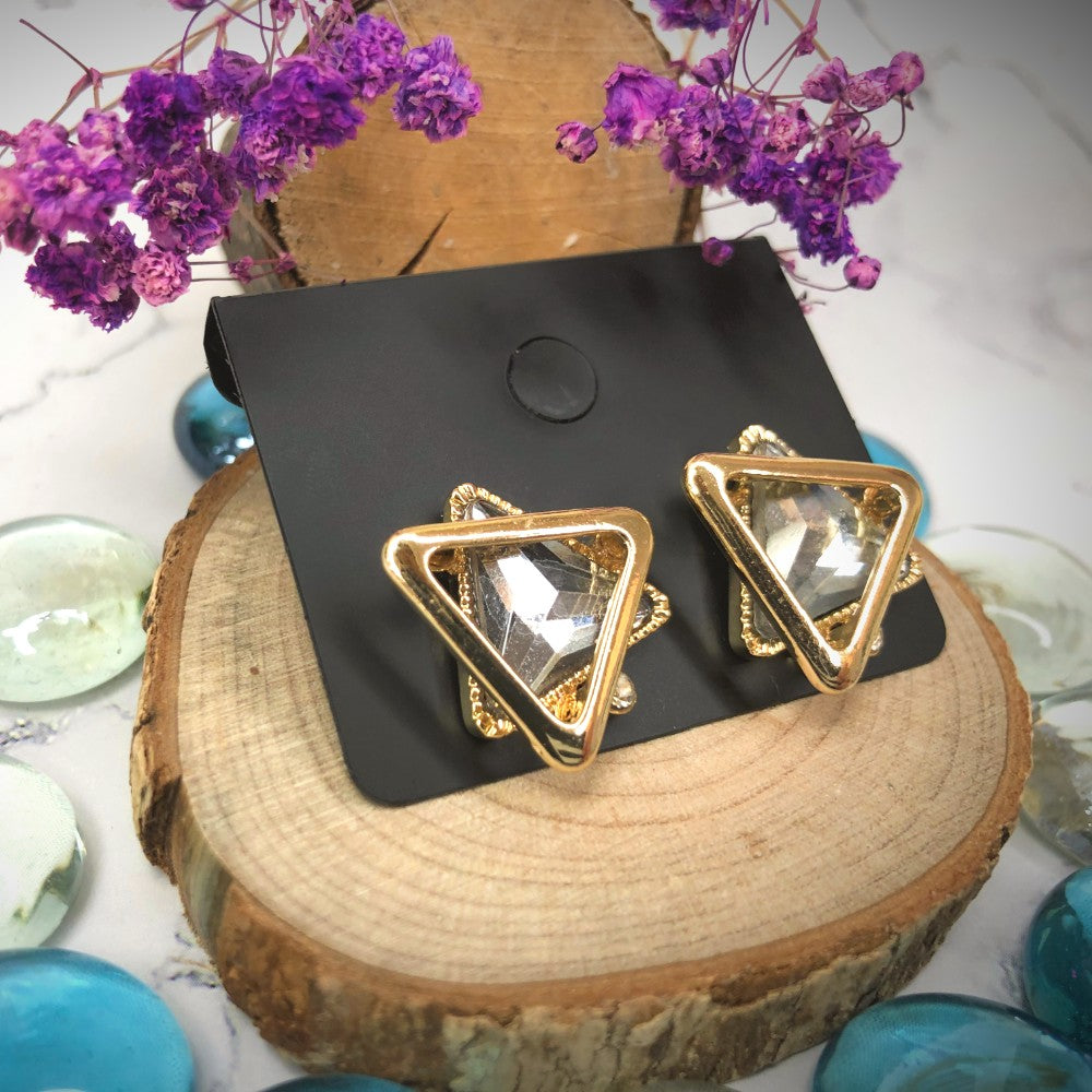 Temperament Elegant / Geometric shapes black diamond earrings