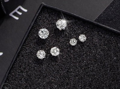 Temperament Elegant / Diamond silver earrings set of 3