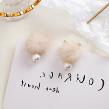 Load image into Gallery viewer, Temperament Elegant / Hairball autumn and winter earrings- Cat ear flaffy