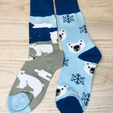 Styled cotton socks- Polar Bear Blue