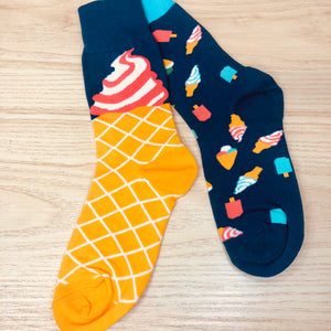 Styled cotton socks- Ice cream Blue Yellow