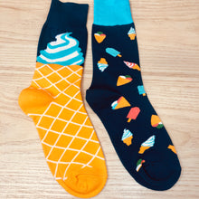 Load image into Gallery viewer, Styled cotton socks- Ice cream Blue Yellow
