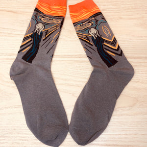 Styled cotton socks- Edvard Munch Gray