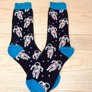 Styled cotton socks- Astronaut Blue