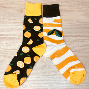 Styled cotton socks- Orange Yellow  White