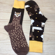 Load image into Gallery viewer, Styled cotton socks- Lama Brown Socks