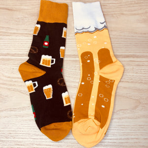 Styled cotton socks- Beer Yellow Brown