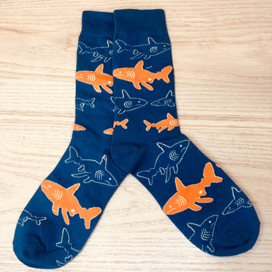 Styled cotton socks- Shark Blue Orange