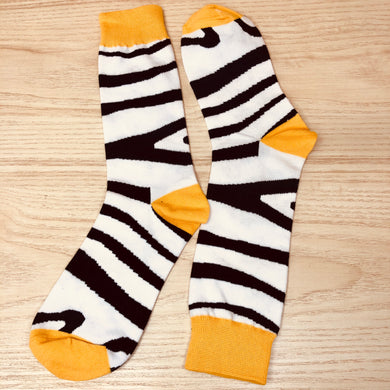 Styled cotton socks- Zebra White Yellow