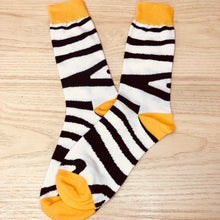Load image into Gallery viewer, Styled cotton socks- Zebra White Yellow