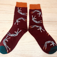 Load image into Gallery viewer, Styled cotton socks- Circus Acrobat Red
