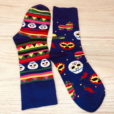 Styled cotton socks-  Dia de Muertos Colorful