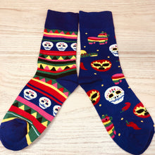 Load image into Gallery viewer, Styled cotton socks-  Dia de Muertos Colorful