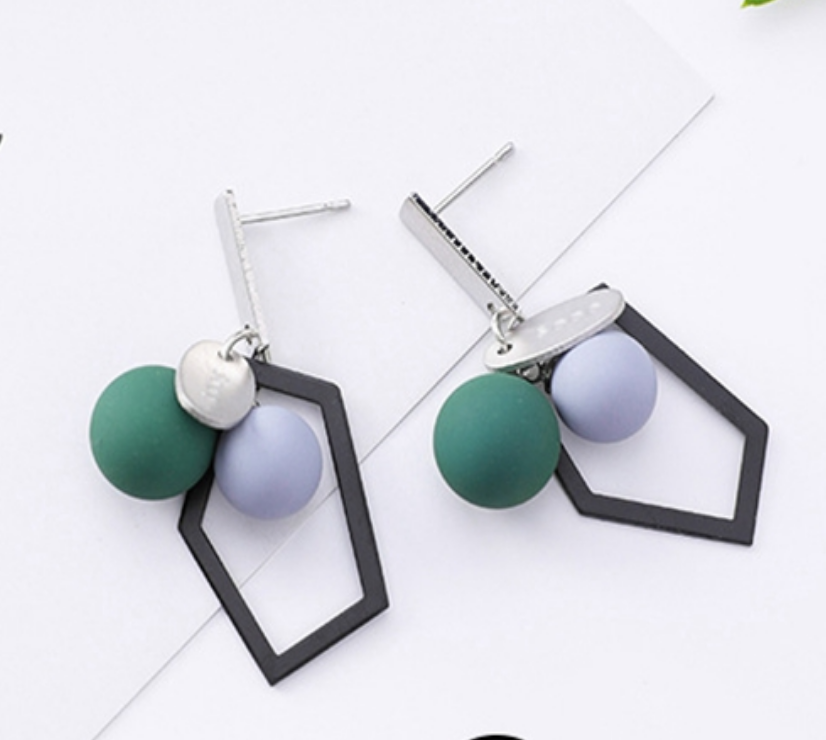 Temperament Elegant / Geometric Grey Blue earrings