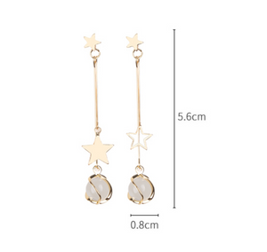 Temperament Elegant / Star and Silver long earring