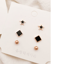 Load image into Gallery viewer, Temperament Elegant / Set of small gold and black earrings