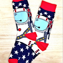 Load image into Gallery viewer, Styled cotton socks-Blue White Red Astronaut
