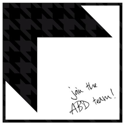 Adam Block Design logo with join the ABD team