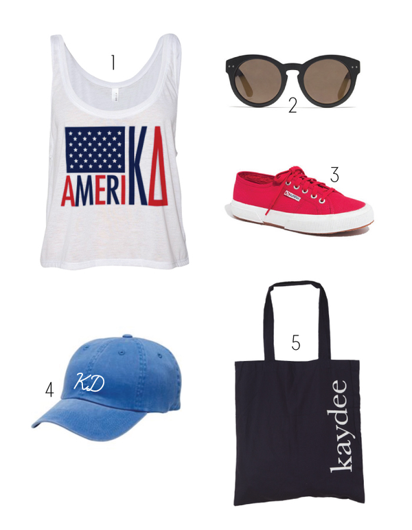 kaydee tote bag and Kappa Delta America Crop Top