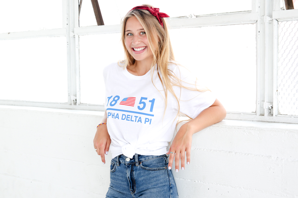 sorority model wearing alpha delta pi 1851 t-shirt