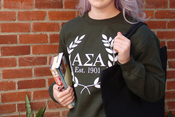 black alpha sigma alpha sweatshirt and tote bag